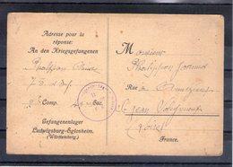 Carte De Prisonnier De Guerre. Ludwigsburg-eglosheim. 1917 - Marcophilie (Lettres)