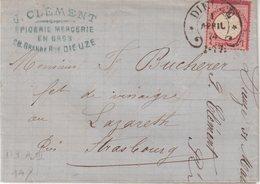 """ALSACE - LORRAINE : 1 Gr . TYPE AIGLE . OBL . FER A CHEVAL . DE """" DIEZE """" . TB . 1874 . - Storia Postale"""
