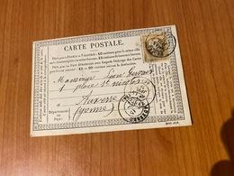 Carte Précurseur Du 14 Janvier 1876 -  DE TROYES  Pour AUXERRE   ( Port Offert ) - 1849-1876: Klassieke Periode
