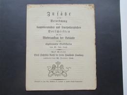 Original Dokument Zusätze Zur Verordnung Zum Wiederaufbau Gebäude In Den Abgebrannten Stadtteilen Hamburger Brand 1842 - Decrees & Laws