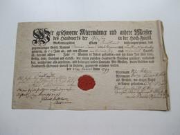 Original Dokument Gesellenbrief Aus Dem Jahre 1799 Von Altermännern Und Meistern Beglaubigt! Mecklenburgische Stadt - Historische Dokumente
