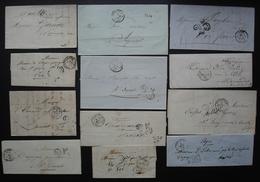 Lot De 12 Lettres Taxées Des Années 1850, Différentes Provenances, Voir Photos - 1849-1876: Periodo Classico