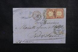 FRANCE / ALLEMAGNE - Lettre De Mulhouse Pour Port / Saône En 1872, Affranchissement Plaisant, Obl Fer à Cheval - L 51684 - Elzas-Lotharingen
