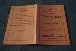 Ancienne Publicité Et Tarif Pour La Poudre De Chasse 1934 ,Wetteren ,15 Cm. Sur 10 Cm. - Pubblicitari