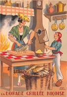 Illustrateur Jean PARIS - M. Barré & J. Dayez - Recette - La Dorade Grillée Niçoise - N° 1417 G - Andere Illustrators