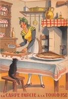 Illustrateur Jean PARIS - M. Barré & J. Dayez - Recette -  La Carpe Farcie à La Toulouse - N° 1417 K - Andere Illustrators