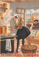 Illustrateur Jean PARIS - M. Barré & J. Dayez - Recette -  Les Coquilles St Jacques - N° 1417 O - Andere Illustrators
