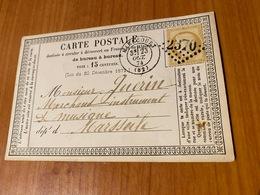 Carte Précurseur Du 23 Octobre 1874 -  DE MIRECOURT GC 2370 POUR MARSEILLE  ( Port Offert ) - Marcophilie (Lettres)