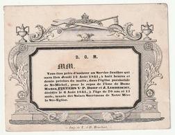 Faire-part Décès Carton Fin Oude Doodsbrief Marie PIETERS Veuve Doop Et Libbrecht Eglise St Michel T. Et D. Hemelsoet - Décès