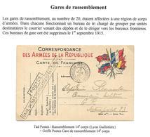 Guerre 14-18 : CP FM 6 Drapeaux Obl. Tàd + Griffe Postes / Rassemblement 14e Corps 2.7.1915 (Lyon Guillotière) - Marcofilie (Brieven)