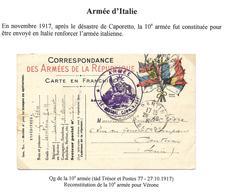 Guerre 14-18 : CP FM 7 Drapeaux Obl. Tàd Trésor Et Postes 77 Le 27.10.1917 + Cachet Armée (Armée D'Italie) - WW I