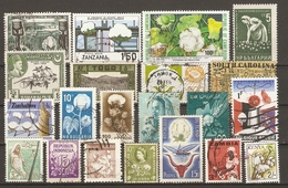 Coton - Petit Lot De 21 Timbres -  17° -  2 MNH - 1 MH - 1 NSG Inde - Bahwalpur - Mexique - Zambie - Bulgarie - Cameroun - Agriculture