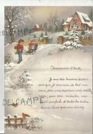 Enfants, Maison, Traîneau Dans La Neige. Lettre De Vœux. Signée Jacqueline à Saint-Hubert 1960 - Manuscrits