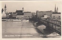 LINZ A.d. Donau Von Uhrfahr Mit Dampfschiffstation, Fotokarte Beschrieben Um 1930 - Linz