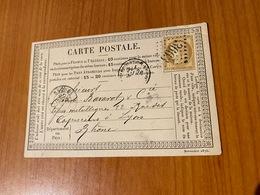Carte Précurseur Du 26 Mars 1876 -DE SAINT HIPPOLYTE GC 3663 POUR LYON 5  (port Offert ) - 1849-1876: Klassieke Periode