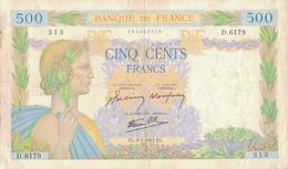 J26 - Billet 500 Francs - Type La Paix - 1942 - 1871-1952 Gedurende De XXste In Omloop