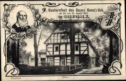 Passepartout Cp Diepholz In Niedersachsen, Gauturnfest Gau Osnabrück 1913, Turnvater Jahn, Münte - Germany