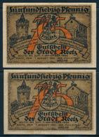 NOTGELD / REETZ / RECZ  -   1921 ,  2 Notgeldscheine  -  Gebraucht - Lokale Ausgaben