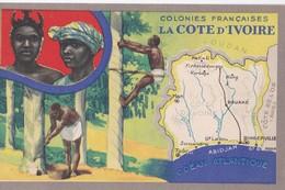 Carte Vers 1920 Les Colonies Françaises : La Côte D'Ivoire (publicité Lion Noir) - Ivory Coast