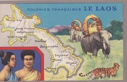 Carte Vers 1920 Les Colonies Françaises : LE LAOS (publicité Lion Noir) - Laos