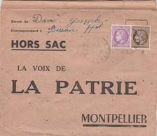 Enveloppe HORS SAC Yvert 679 + 681 Cérès Mazelin  BESSAN Hérault 1948 La Voix De La PATRIE Montpellier - France