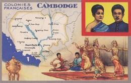 Carte Vers 1920 Les Colonies Françaises : LE CAMBODGE (publicité Lion Noir) - Cambodge