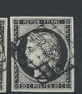 Timbre Emission Cérés N° 3 Noir Sur Blanc Signé Mr Calves - 1849-1850 Ceres