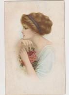 Cpa Fantaisie Dessinée Et Signée  ( Illisible)  / Jolie Jeune Femme De Profil ; Roses - Illustratori & Fotografie