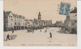 CPA REIMS (42) LA PLACE DROUET-D'ERLON Et L' EGLISE SAINT-JACQUES - ANIMEE - Reims