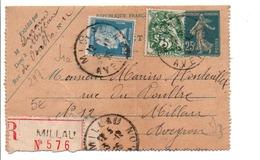 AFFRANCHISSEMENT COMPOSE SUR LETTRE RECOMMANDEE DE MILLAU AVEYRON 1925 - Marcophilie (Lettres)