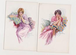 2 Cpa Fantaisie Dessinées Et Signées  ( ? )  / Jeunes Femmes Assises Sur Des  Coussins. Style Art Déco - Illustratori & Fotografie