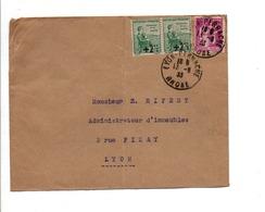 AFFRANCHISSEMENT COMPOSE SUR LETTRE DE LYON 1933 - 1921-1960: Période Moderne