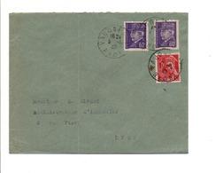 AFFRANCHISSEMENT COMPOSE SUR LETTRE DE VAUGNERAY RHONE 1942 - 1921-1960: Période Moderne