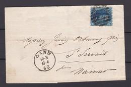N° 15 Ou  15 A / Lettre De Gand Vers Namur 13 6 1863 Lac - 1863-1864 Medaillen (13/16)