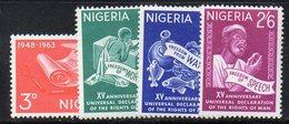 APR2027 - NIGERIA 1963, Yvert N. 149/152  ***  MNH  (2380A) . Diritti Uomo - Nigeria (1961-...)