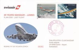 Swissair. USA. 29 YEARS SWISSAIR - JUMBO.9.Jan.2000 - Last Flight, Boing 747-357 Atlanta-Zürich (BM DC 3 + 314 Clipper) - Transport