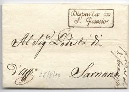 PERIODO NAPOLEONICO - DA SARNANO PER CITTA' - 26.8.1810. - Italia