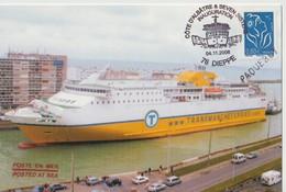 """TIMBRE 0.60€ Type LAMOUCHE  SUR C.P. -"""" Inauguration De La Ligne Dieppe Newhaven - Le Seven Sisters """" - France"""