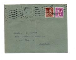 AFFRANCHISSEMENT COMPOSE SUR LETTRE DE LYON 1942 - 1921-1960: Période Moderne