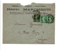 AFFRANCHISSEMENT COMPOSE DE SEMEUSE SUR LETTRE A EN TETE DE VILLEFRANCHE 1920 - Marcophilie (Lettres)