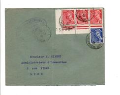 AFFRANCHISSEMENT COMPOSE DE MERCURE SUR LETTRE DE VILLEURBANNE 1939 - 1921-1960: Période Moderne