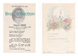 Mémento De Pascal Sallé, 2 Ans, 26/07/1960, Souvenir Mortuaire à Localiser, Avec Photo, Bébé, Enfant - Images Religieuses