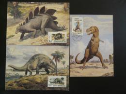Carte Maximum Card (x3) Dinosaures Dinosaurs 1994 République Tchèque Czech Republic Ceska (ref 86294) - FDC