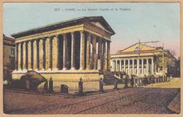 CPA Nimes, La Maison Carrée Et Le Théâtre, Gel. 1941 - Nîmes