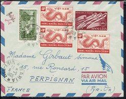 Vietnam - 1955 - Joli Affranchissement Sur Enveloppe De Baria Pour Perpignan (Fr)  T. Taxe Annulée - TB - - Vietnam