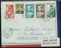 Vietnam - Bel Affranchissement Varié Sur Enveloppe De Ba Ria Vers La France 18-7-1955 - B/TB - - Viêt-Nam