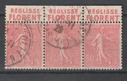 """Frankreich / 1924 / Mi. 161 3er-Streifen Mit Oberrand (dort Werbezudruck """"REGLISSE FLORENT"""") O (5672) - Advertising"""