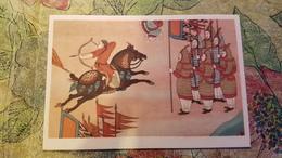 CHINA. Old Postcard Five Dynasties Period. Cave 130. ARCHER IN THE BATTLE - HORSE - Tir à L'Arc