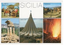 CPSM ITALIE SICILE  Diverses Vues : Siracuse, Agrigento, Etna, Taormina, Carriole Sicilienne - Italië