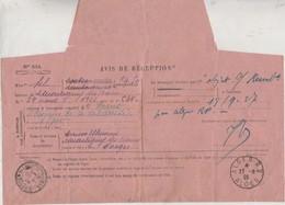 Avis De Réception D'un Envoi En Algérie / 1928 / Cachet D'Alger Et De Martigny 88 / Timbre Pasteur - Marcophilie (Lettres)